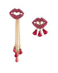 Betsey Johnson | Pink Dark Shadows Vampire Lips Mismatch Earrings | Lyst