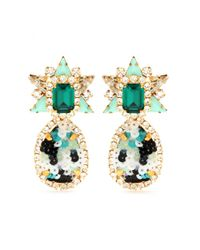 Shourouk Green Galaxy Sequins Clip-On Earrings