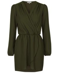 TOPSHOP - Natural Long Sleeve Wrap Dress By Love - Lyst