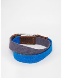 ASOS | Double Wrap Canvas Bracelet In Blue for Men | Lyst
