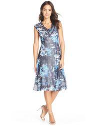 Komarov - Blue Print Chiffon & Charmeuse A-Line Dress - Lyst