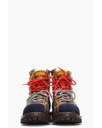DSquared² Brown Leather and Suede Patch worked Military Hiking Boots for men