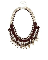 Oasis | Red Multi Stone  Leaf Collar Necklace | Lyst