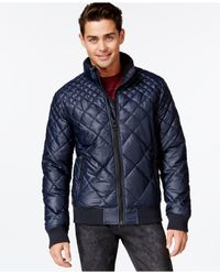 Guess | Blue John Quilted Puffer Jacket for Men | Lyst