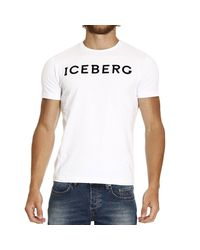 Iceberg | White T-shirt Short Sleeve Crewneck Logo for Men | Lyst