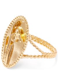Alex Monroe | Metallic Yellow Gold Oval Snowdrop Cameo Ring | Lyst