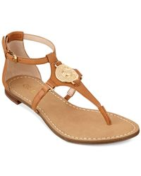 Guess Brown Women'S Rafiya T-Strap Flat Sandals