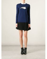Bella Freud Blue Dog Motif Sweater