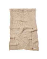 Ralph Lauren | Beige Rib-knit Wool-blend Scarf | Lyst