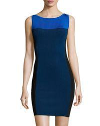 Halston - Blue Sleeveless Colorblock Sweater Dress - Lyst