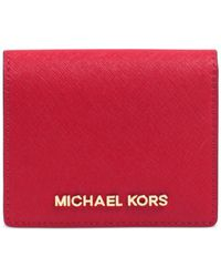 Michael Kors - Red Michael Jet Set Travel Flap Card Holder - Lyst