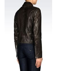 Emporio Armani | Brown Light Leather Jacket | Lyst