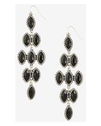 Express Black Pave Framed Waterfall Earrings