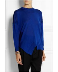 Stella McCartney - Blue Asymmetric Wool And Silk-blend Sweater - Lyst