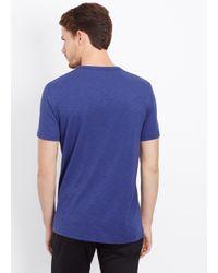 Vince Blue Slub Cotton Short Sleeve V-neck Tee for men