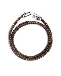 David Yurman - Chevron Triplewrap Bracelet in Brown for Men - Lyst