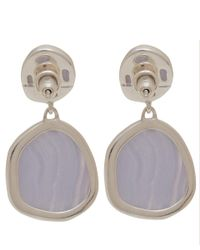 Monica Vinader Metallic Medium Silver Blue Lace Agate Drop Earrings