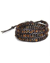 Aeravida | Brown Tiger's Eye Muse Crystal Tribal Wrap Leather Bracelet | Lyst