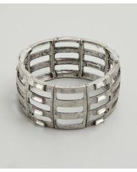 R.j. Graziano | Metallic Metal Crystal Trim Link Stretch Bracelet | Lyst