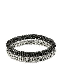 Kenneth Cole - Metallic Silvertone Hematitetone Seed Bead Bracelet Set 2 - Lyst