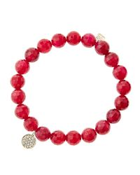 Sydney Evan | 8Mm Faceted Red Agate Beaded Bracelet With Mini Yellow Gold Pave Diamond Disc Charm (Made To Order) | Lyst