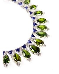 CZ by Kenneth Jay Lane - Green Pear Cut Cubic Zirconia Collar Necklace - Lyst