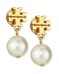Tory Burch | Metallic Logo & Simulated Pearl-drop Earrings | Lyst