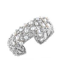 Effy | Metallic Pearl Lace 925 Sterling Silver Cuff Bracelet | Lyst