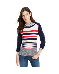 Tommy Hilfiger Blue Colorblocked Striped Sweater