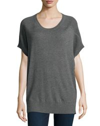 Neiman Marcus | Gray Short-sleeve Cashmere Sweater | Lyst
