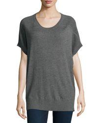 Neiman Marcus - Gray Short-sleeve Cashmere Sweater - Lyst