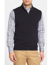 John W. Nordstrom - Blue Quarter Zip Cashmere Vest for Men - Lyst