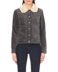Free People | Gray Sherpa-collar Corduroy Jacket | Lyst