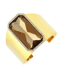 Vince Camuto | Metallic Faceted Champagne Stone Cuff Bracelet | Lyst