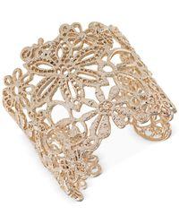 Carolee - Metallic Gold-Tone Openwork Floral Cuff Bracelet - Lyst