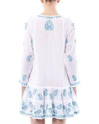 Juliet Dunn - Blue Embroidered Cotton Kaftan - Lyst