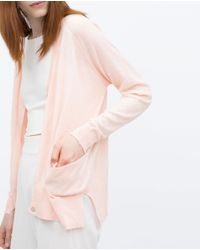 Zara | Pink Knit Cardigan With Pockets | Lyst
