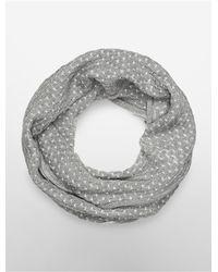 Calvin Klein | Gray White Label Metallic Brick Stitch Infinity Scarf | Lyst