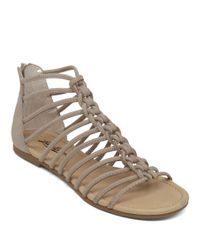 Lucky Brand Gray Casmett Leather Open-toe Sandals