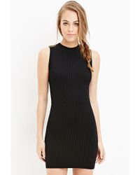 Forever 21 | Black Ribbed Bodycon Dress | Lyst
