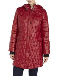 Kenneth Cole | Red Lightweight Hooded Down Jacket | Lyst