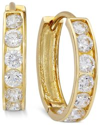Macy's | Metallic Cubic Zirconia Small Hoop Earrings In 10k Gold | Lyst