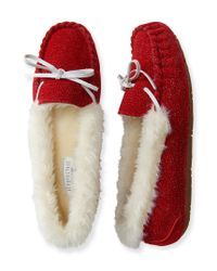 Aéropostale | Red Faux Fur Trimmed Moccasin | Lyst