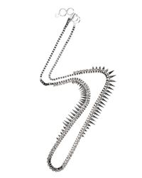French Connection Metallic Spike and Stone Box Chain Rope Necklace