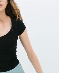 Zara | Black Short Sleeve T-shirt | Lyst