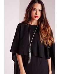 Missguided | Metallic Chain Tie Tassel Necklace Silver | Lyst