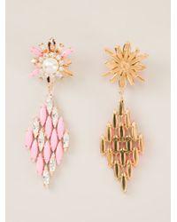 Shourouk - Pink 'cobra' Earrings - Lyst