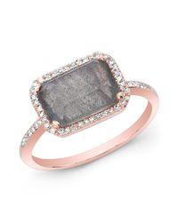 Anne Sisteron Gray 14kt Rose Gold Labradorite Diamond Chic Ring
