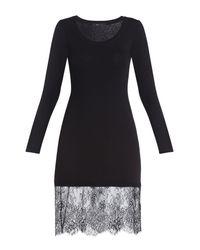 BCBGMAXAZRIA Black Livi Long-sleeve Lace-hem Dress