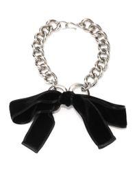 Alexander McQueen - Metallic Ribbon Bow Chain Necklace - Lyst